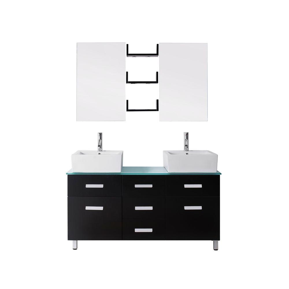 Virtu USA Maybell 55 in. W x 22 in. D Vanity in Espresso with Glass Vanity Top in Aqua with White Basin and Mirror