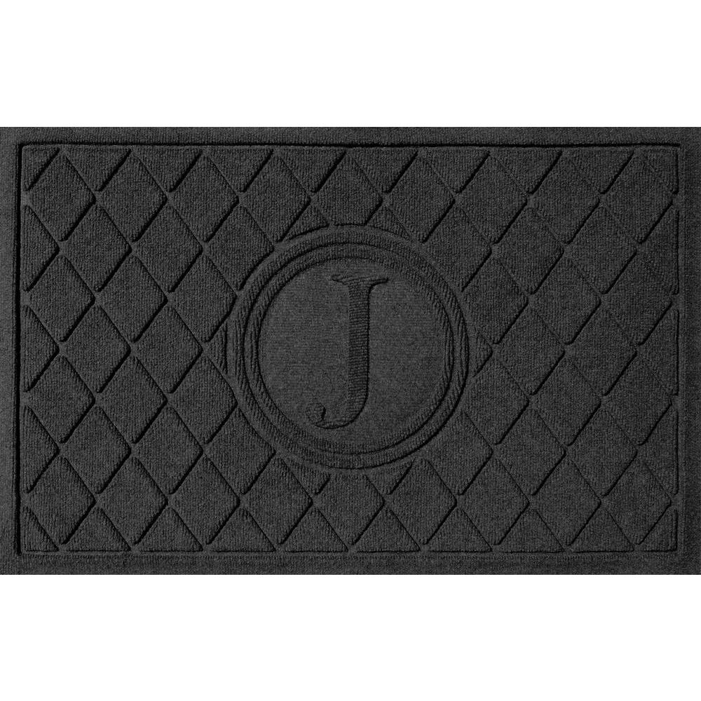Argyle Charcoal (Grey) 24 in. x 36 in. Monogram J Door Mat