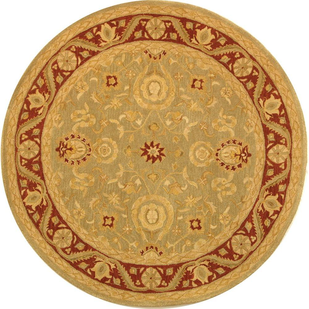 Anatolia Light Green/Red 6 ft. x 6 ft. Round Area Rug