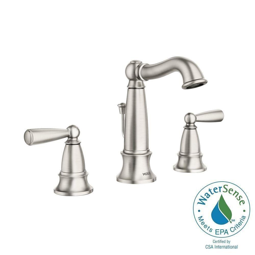 MOEN Vale 8 in. Widespread 2-Handle High-Arc Bathroom Faucet Featuring Microban Protection in Spot Resist Brushed Nickel