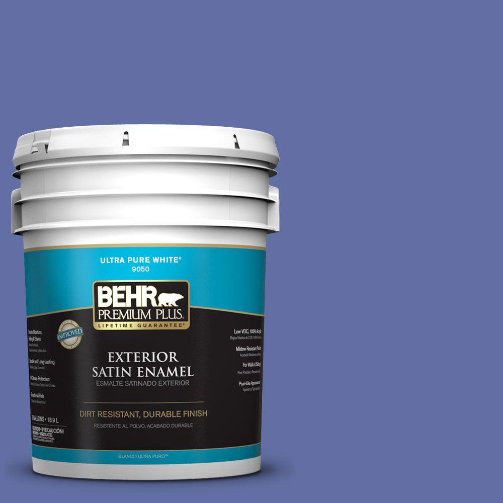 BEHR Premium Plus 5-gal. #610B-6 Stained Glass Satin Enamel Exterior Paint