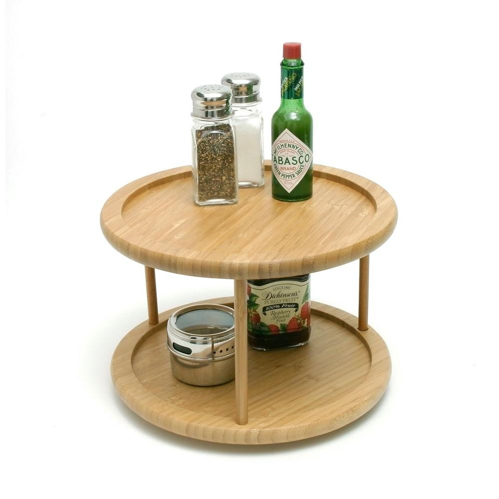 Lipper International Bamboo 10 in. 2-Tier Turntable