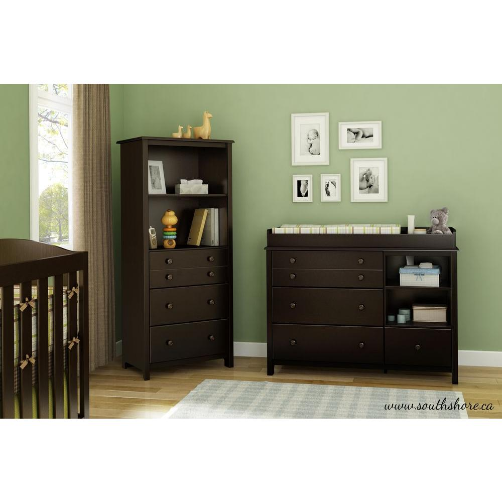 South Shore Little Smileys 3-Drawer Wood Shelving Unit in Espresso-3759022 -