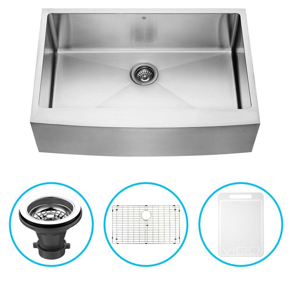 Vigo Undermount Farmhouse Stainless Steel 33 in. Single Bowl Kitchen Sink with Grid and Strainer