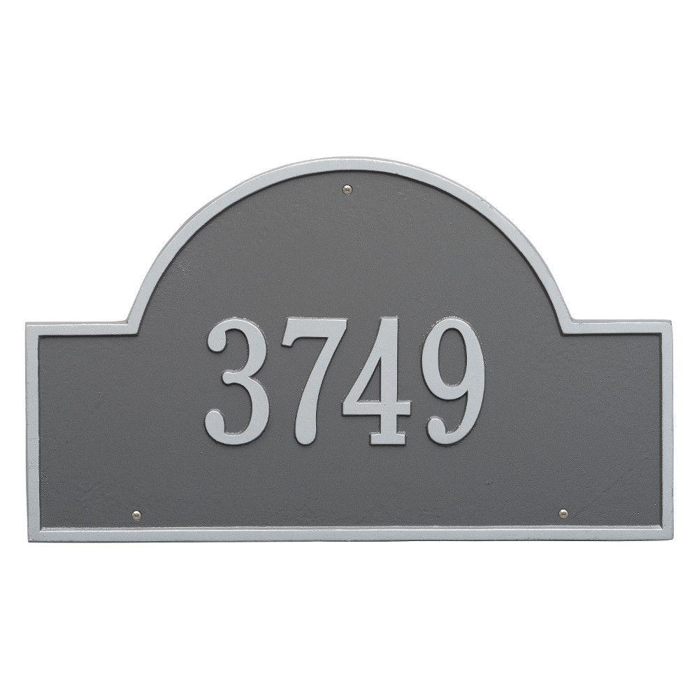 Whitehall Products Arch Marker Estate Pewter/Silver Wall 1-Line Address