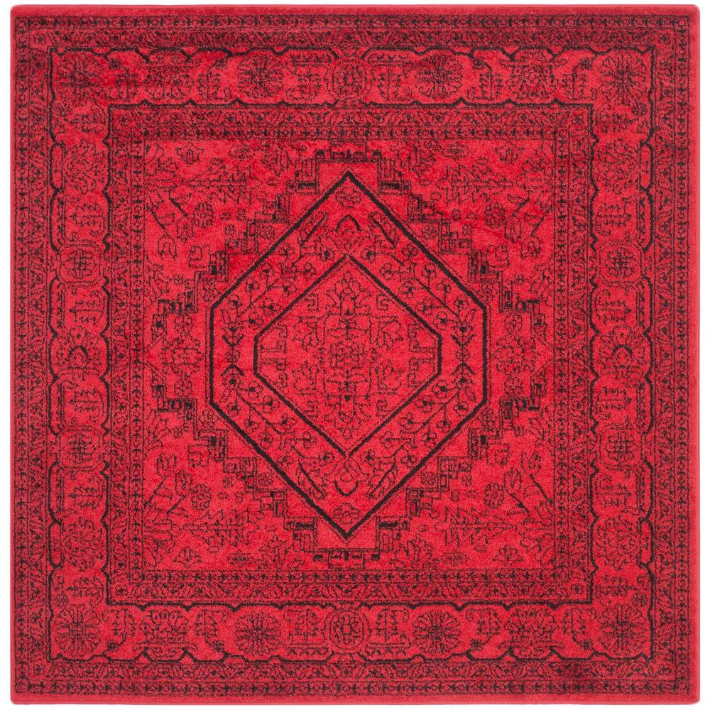 Adirondack Red/Black 6 ft. x 6 ft. Square Area Rug