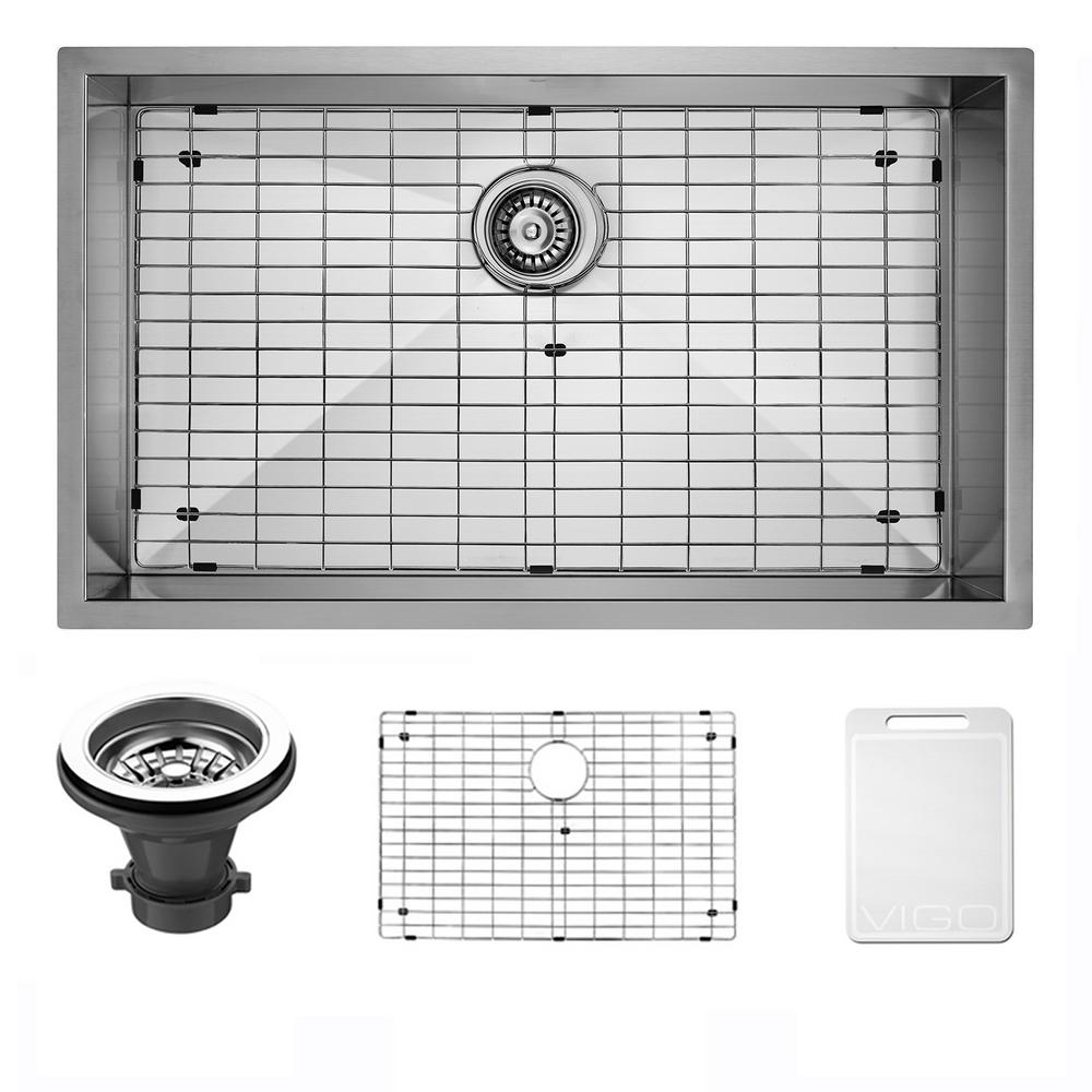Vigo Undermount 30 in. Single Bowl Kitchen Sink with Grid and Strainer in Stainless Steel