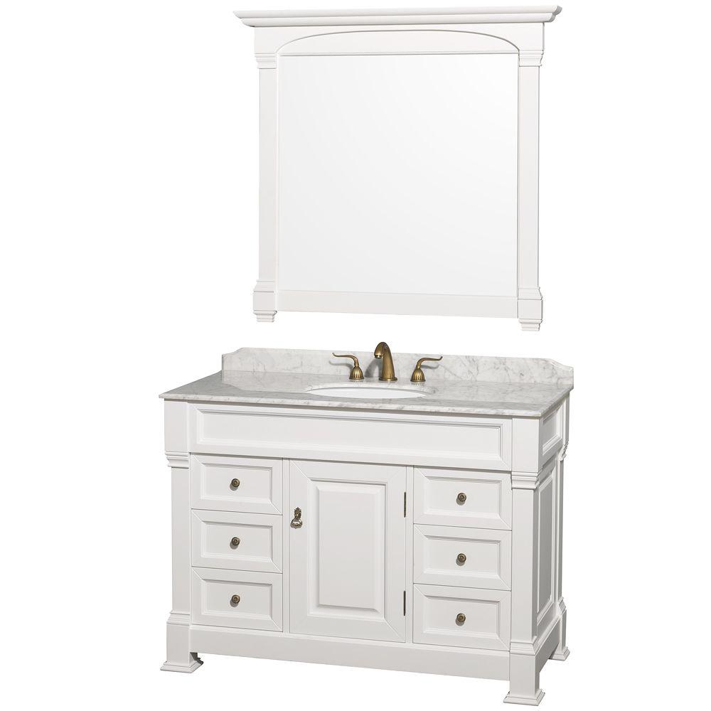 Wyndham Collection Andover 48 in. Vanity in White with Marble Vanity Top in Carrara White and Under-Mount Sink