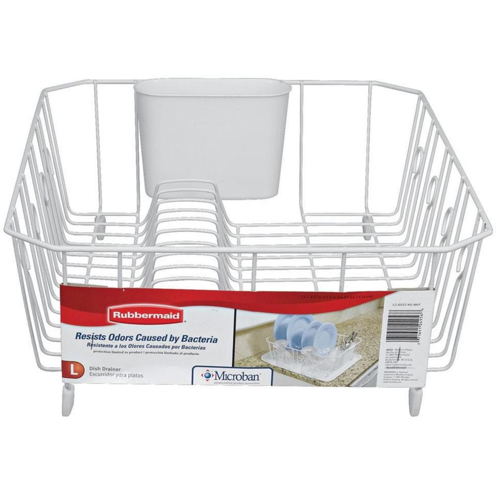 Rubbermaid Large White Antimicrobial Dish Drainer-FG6032ARWHT - The Home Depot