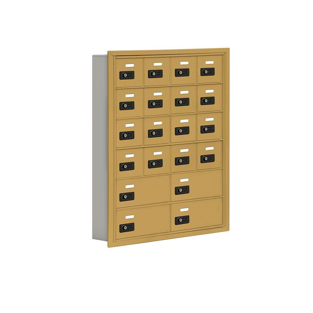 Salsbury Industries 19000 Series 30.5 in. W x 36.5 in. H x 5.75 in. D 16 A/4 B Doors R-Mount Resettable Locks Cell Phone Locker in Gold