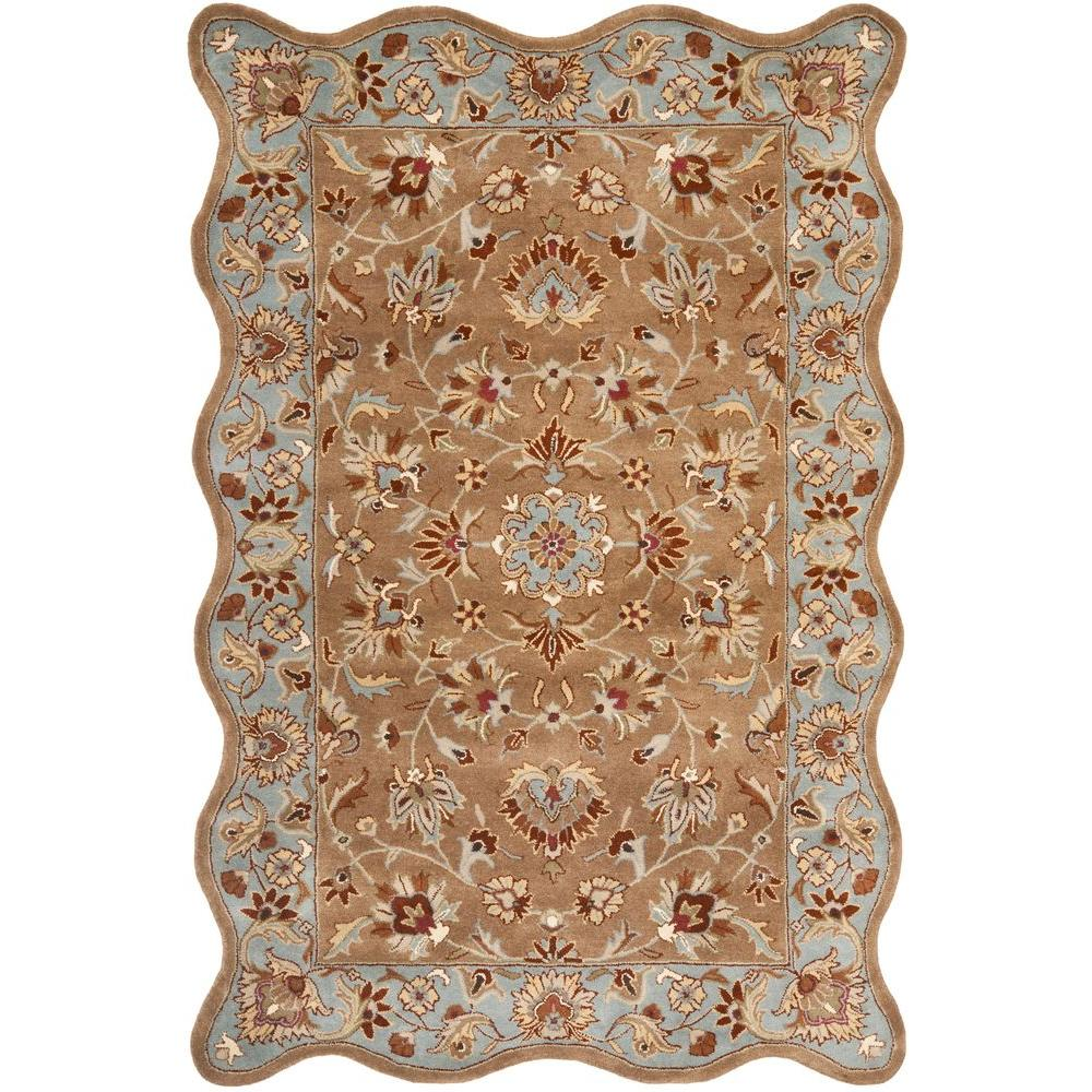 Heritage Beige/Blue 6 ft. x 9 ft. Scalloped Area Rug