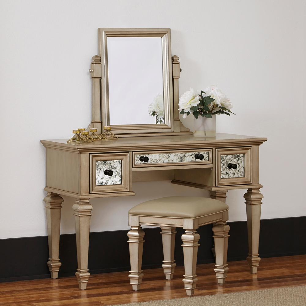 Visions 2-Piece Silver Gold Champagne Vanity Set