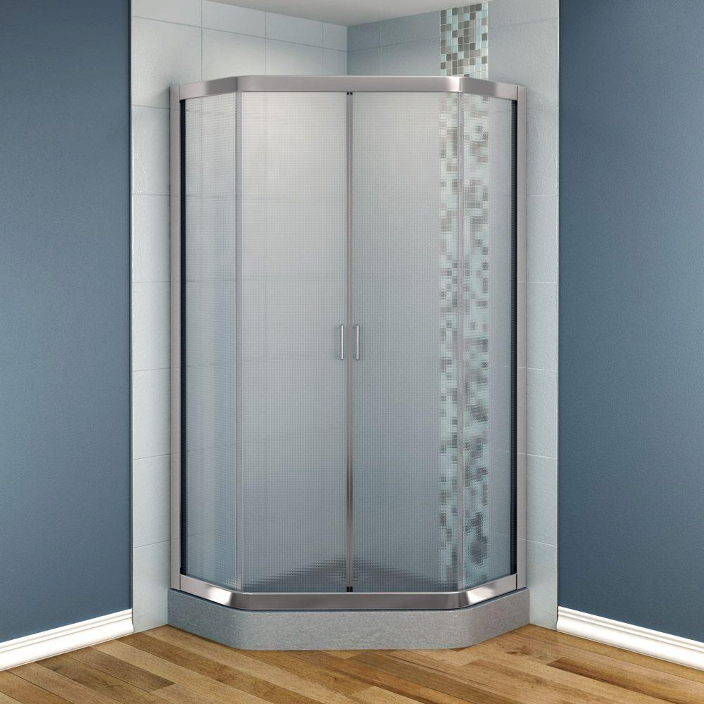 MAAX Intuition 36 in. x 36 in. x 70 in. Neo-Angle Frameless Corner Shower Door  Glass in Nickel Finish-DISCONTINUED