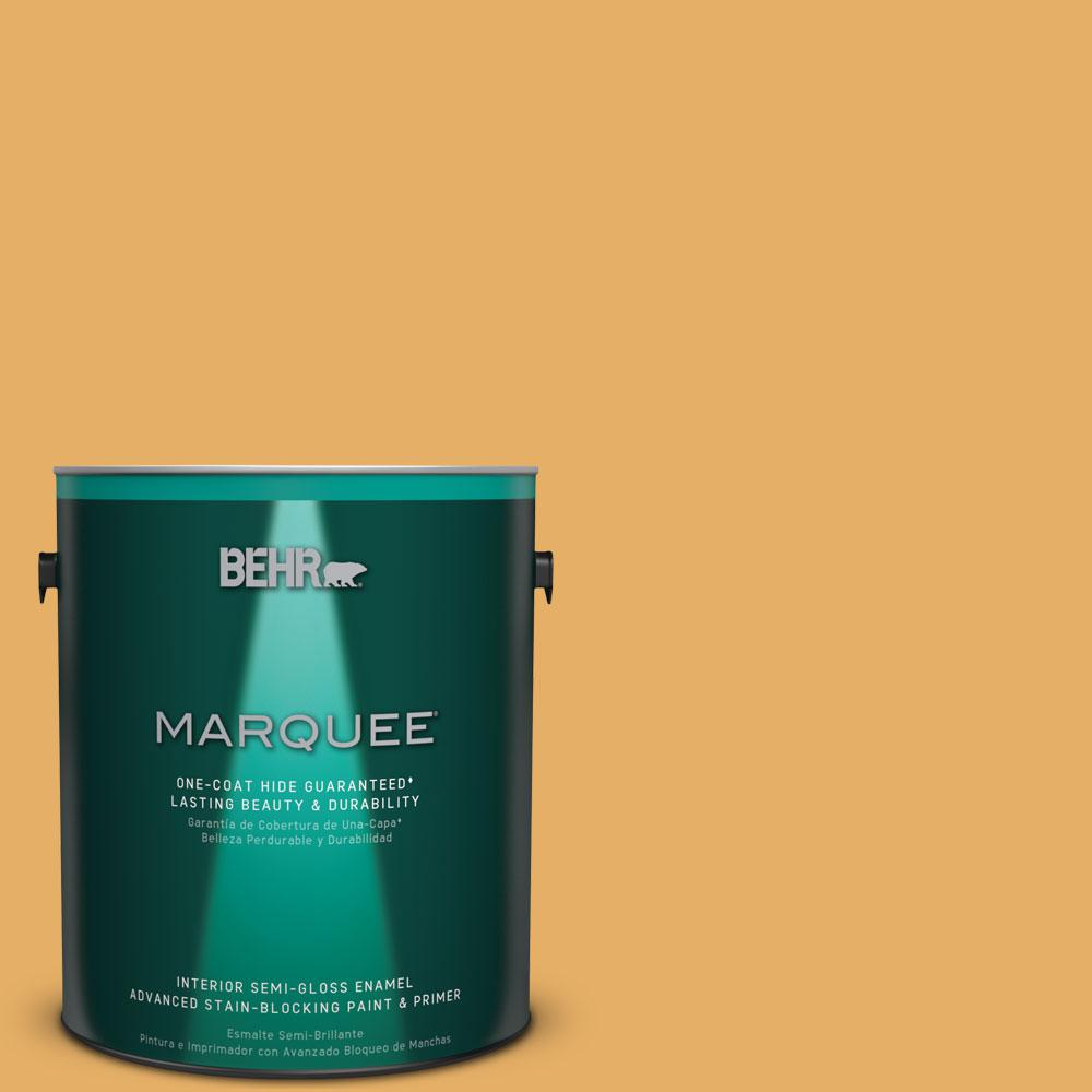 BEHR MARQUEE 1 gal. #MQ4-11 Lamplit One-Coat Hide Semi-Gloss Enamel Interior Paint