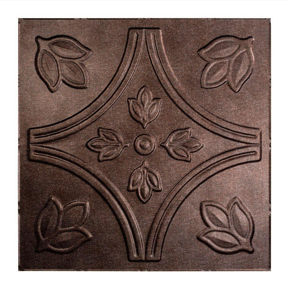 Fasade Traditional 5 - 2 ft. x 2 ft. Lay-in Ceiling Tile in Smoked Pewter