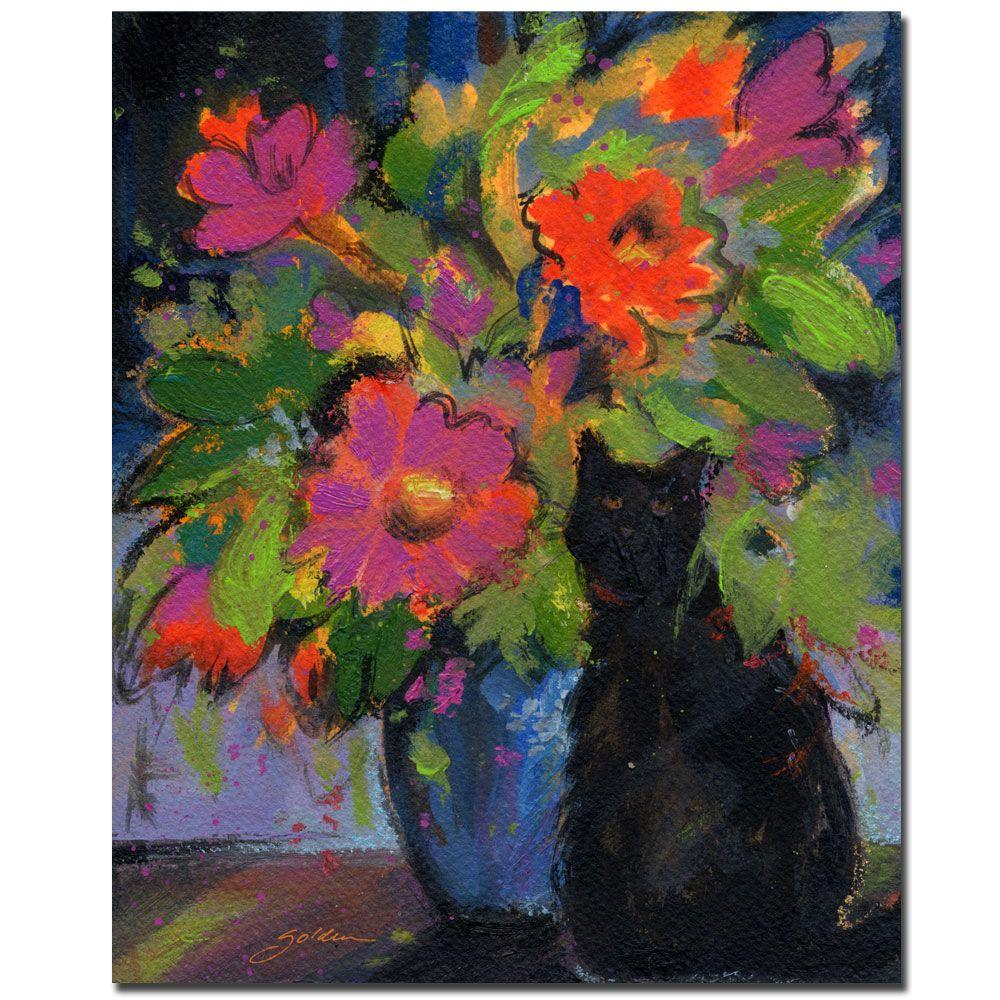 26 in. x 32 in. Cat and Pink Flowers Canvas Art