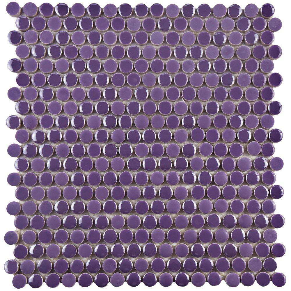 Merola Tile Galaxy Penny Round Purple 11-1/4 in. x 11-3/4 in.