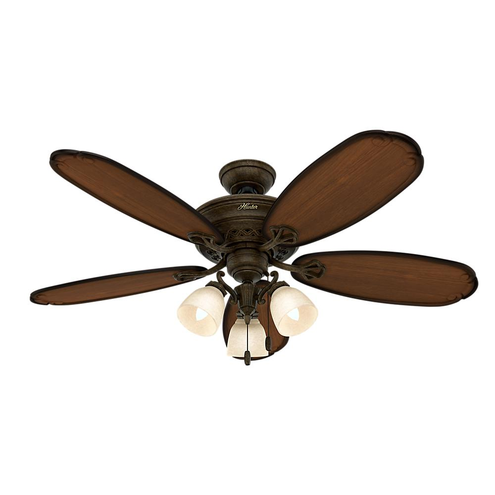 hunter crown park 54 in. indoor tuscan gold ceiling fan-54015
