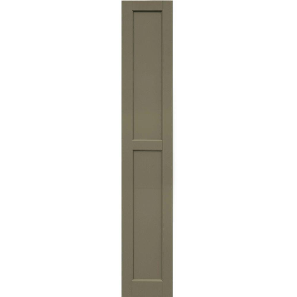 Winworks Wood Composite 12 in. x 70 in. Contemporary Flat Panel Shutters Pair #660 Weathered Shingle