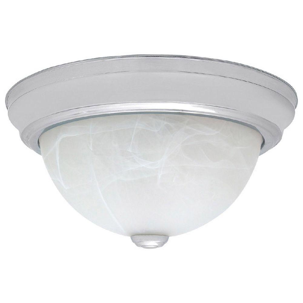 Filament Design Johnson Collection 3-Light Chrome Flush Mount with Faux White Alabaster Glass