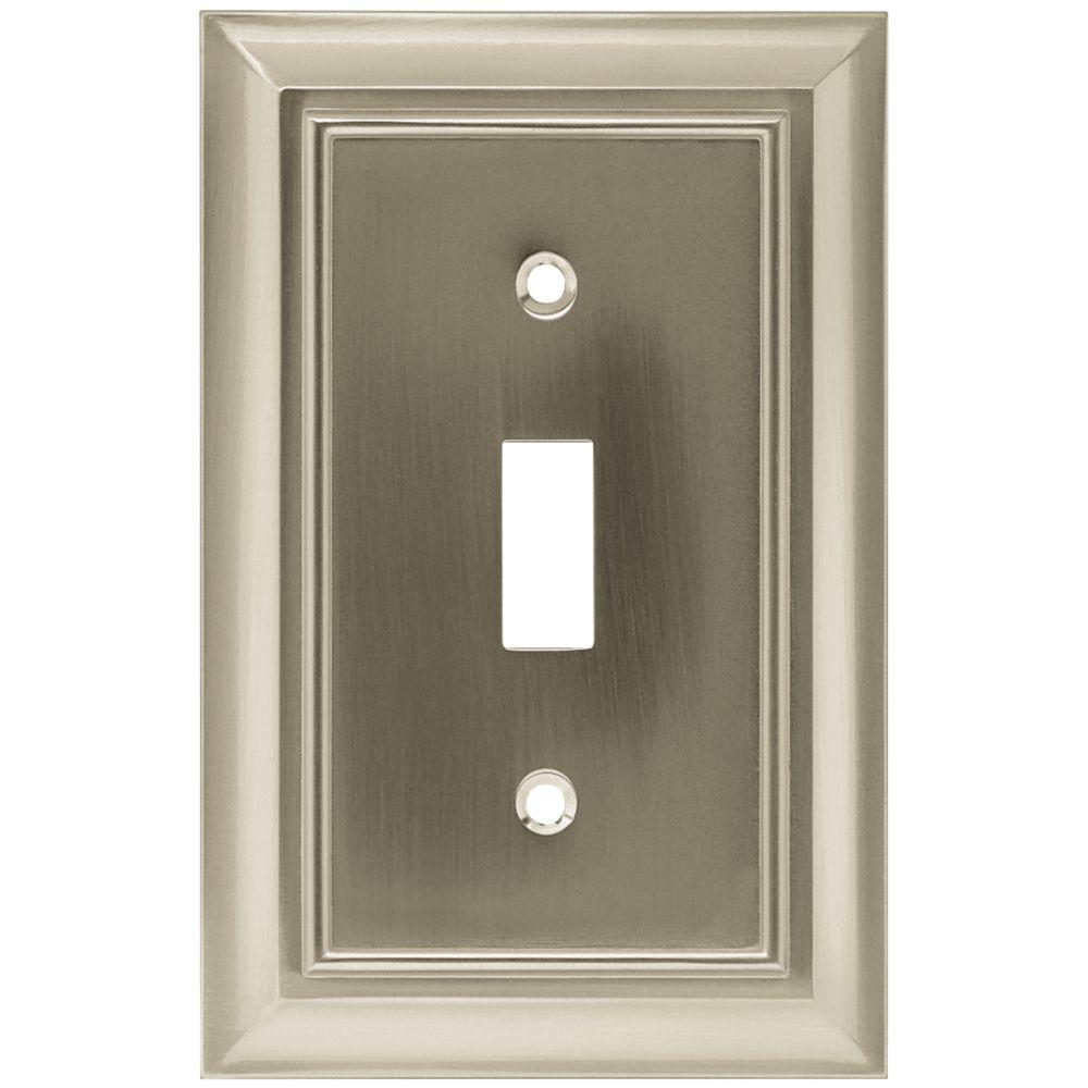 Architectural Decorative Single Switch Plate, Satin Nickel (25-Pack)