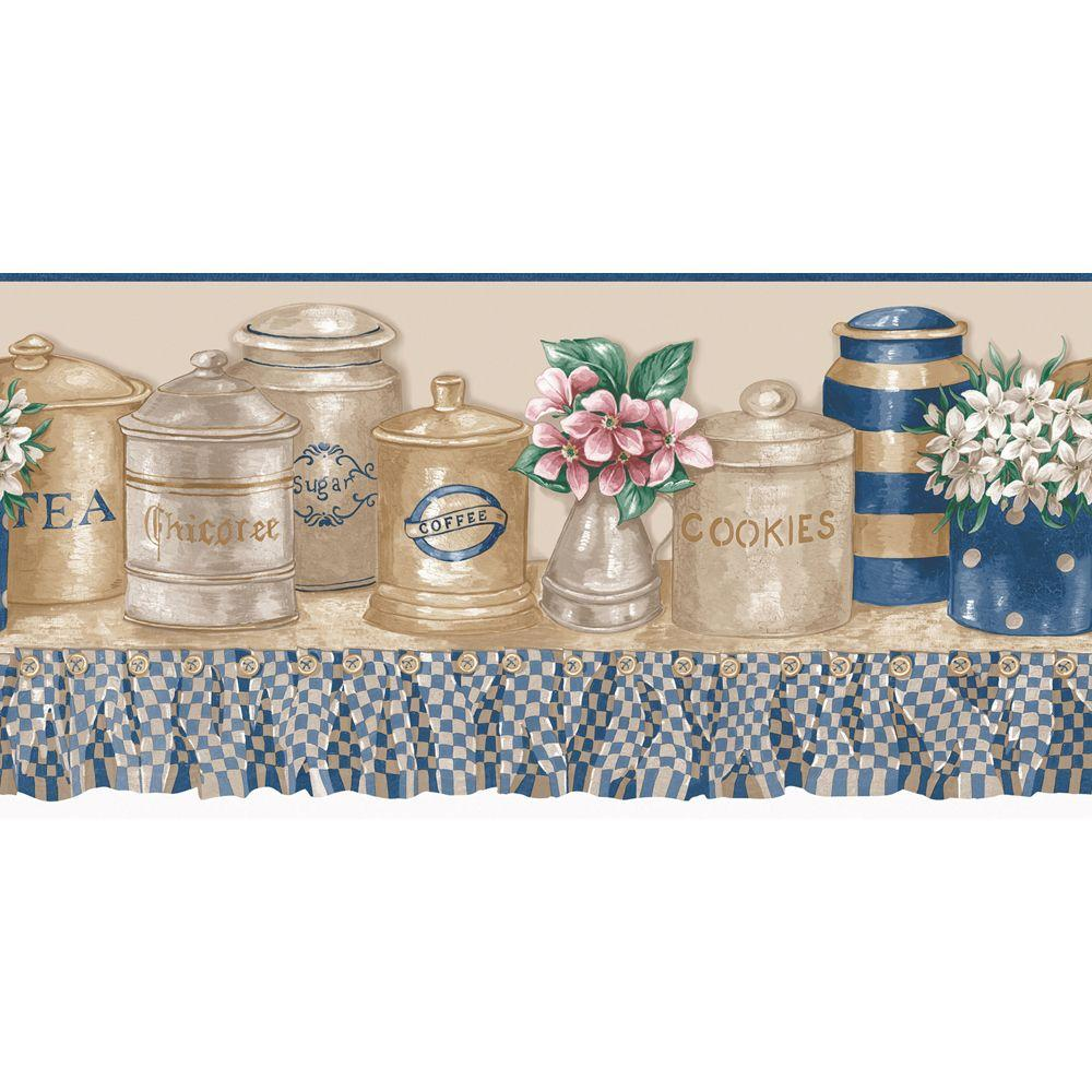 The Wallpaper Company 10 in. x 15 ft. Blue and Beige Kitchen Jars Die Cut Border