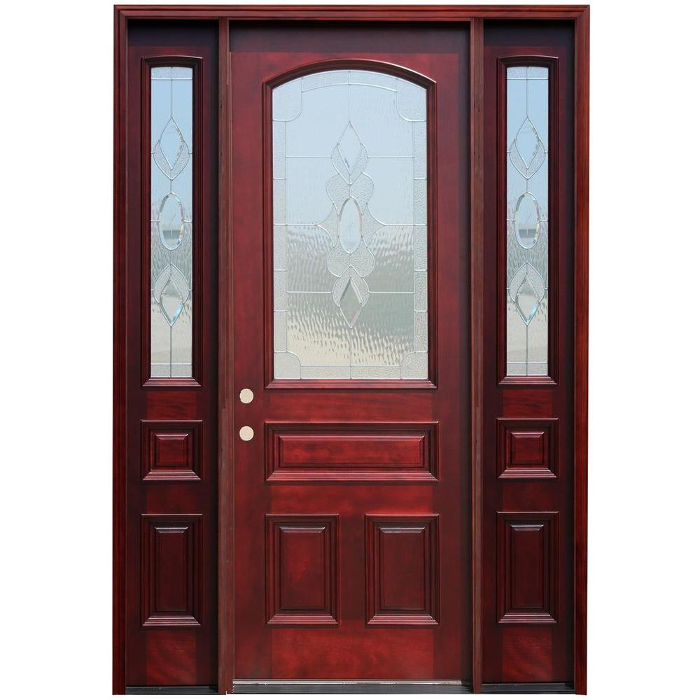 Pacific Entries 64 in. x 96 in. Traditional 3/4 Arch Lite Stained Mahogany Wood Prehung Front Door with 14 in. Sidelites
