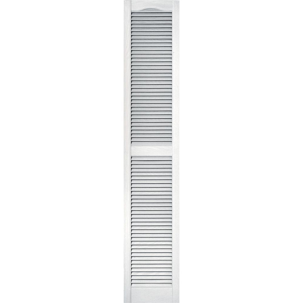 15 in. x 80 in. Louvered Vinyl Exterior Shutters Pair #001