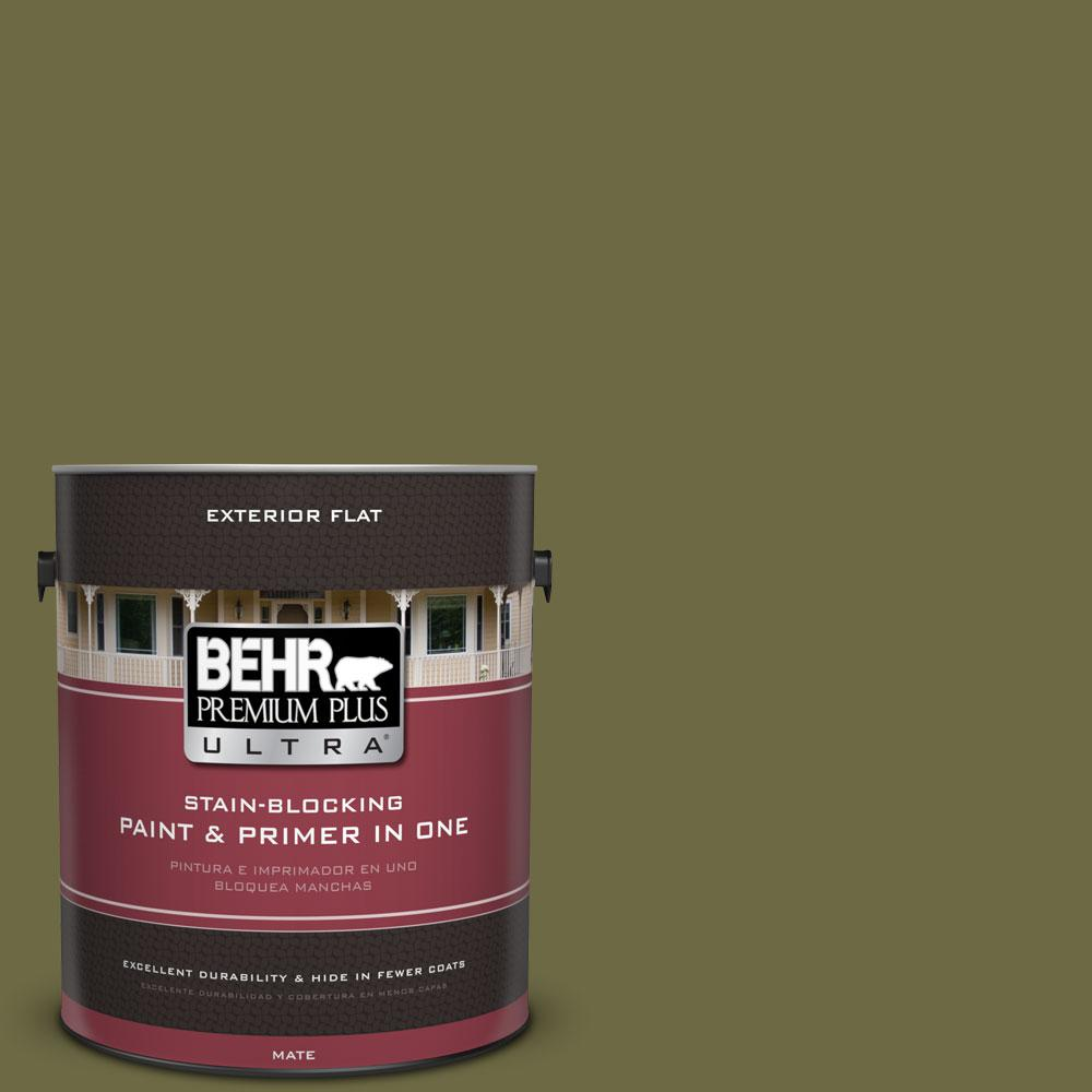 BEHR Premium Plus Ultra Home Decorators Collection 1-gal. #HDC-CL-20 Portsmouth Olive Flat Exterior Paint