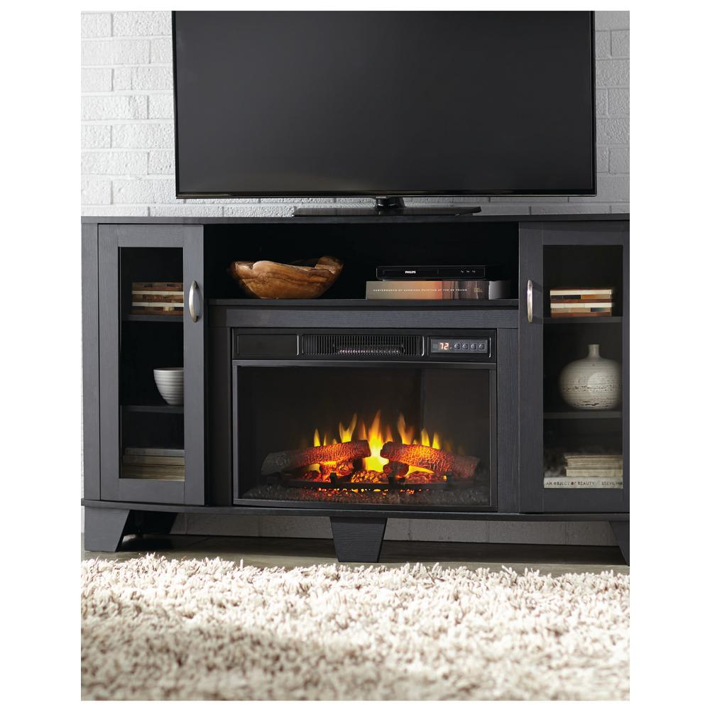 Home Decorators Collection Grand Haven 59 In Media Console Electric Fireplace In Black Shop