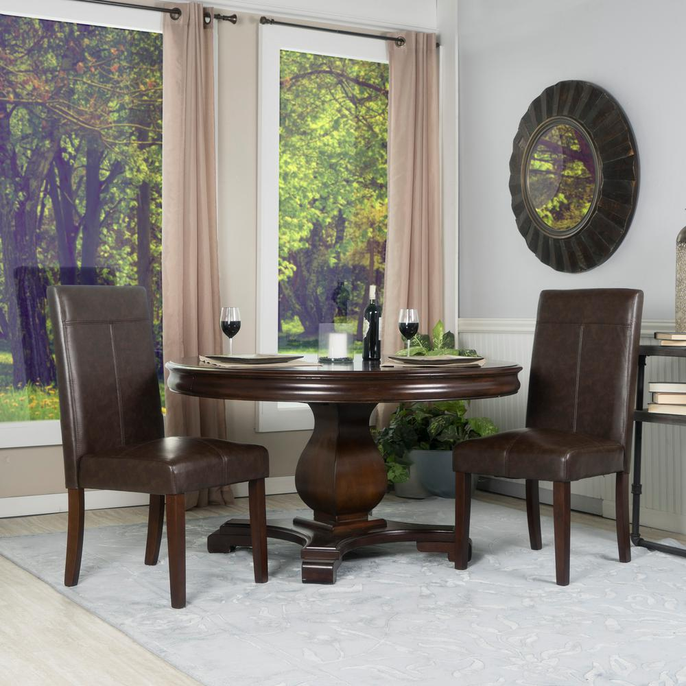 Faux Leather Parsons Dining Room Chairs: Simpli Home Avalon Tanners Brown Faux Leather Parsons Dining Chair (Set Of 2)-WS5134