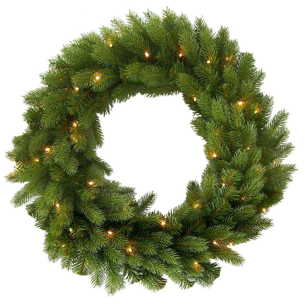 Martha Stewart Living 30 in. Pre-Lit LED Feel-Real Downswept Deluxe Douglas Artificial Wreath with Soft White Lights