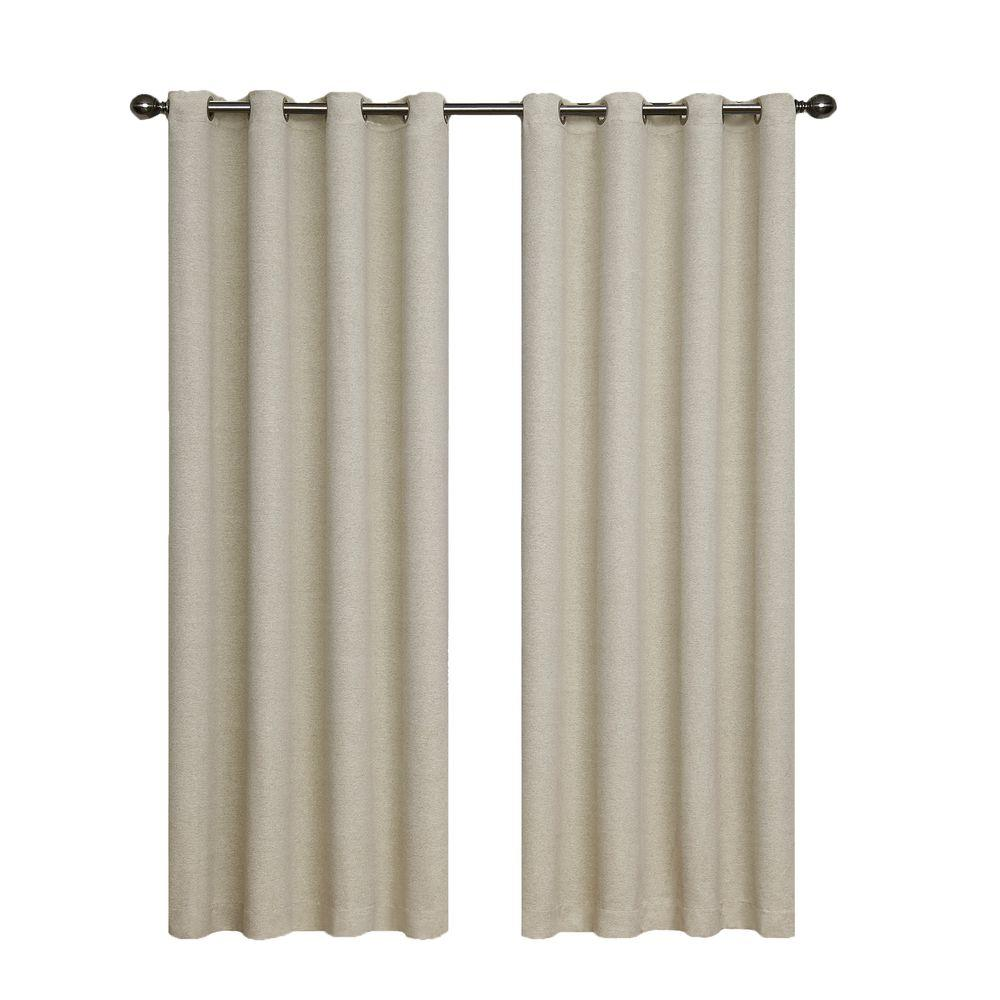 Bobbi Blackout Ivory Polyester Curtain Panel, 63 in. Length