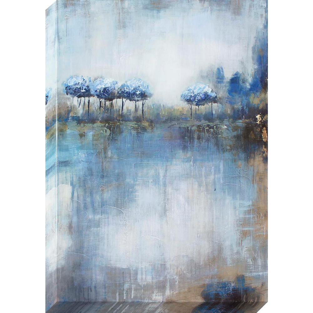 36 in. x 24 in. Waterscape Trees Oil Painted Canvas Wall