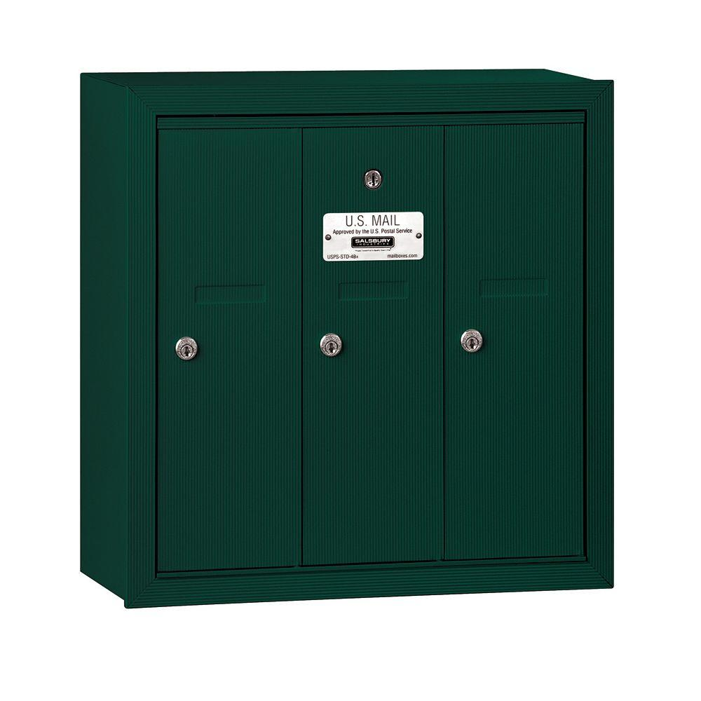 Salsbury Industries 3500 Series Green Surface-Mounted Private Vertical Mailbox with 3 Doors