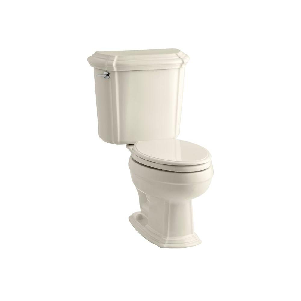 Portrait 2-Piece 1.6 GPF Single Flush Elongated Toilet in Almond