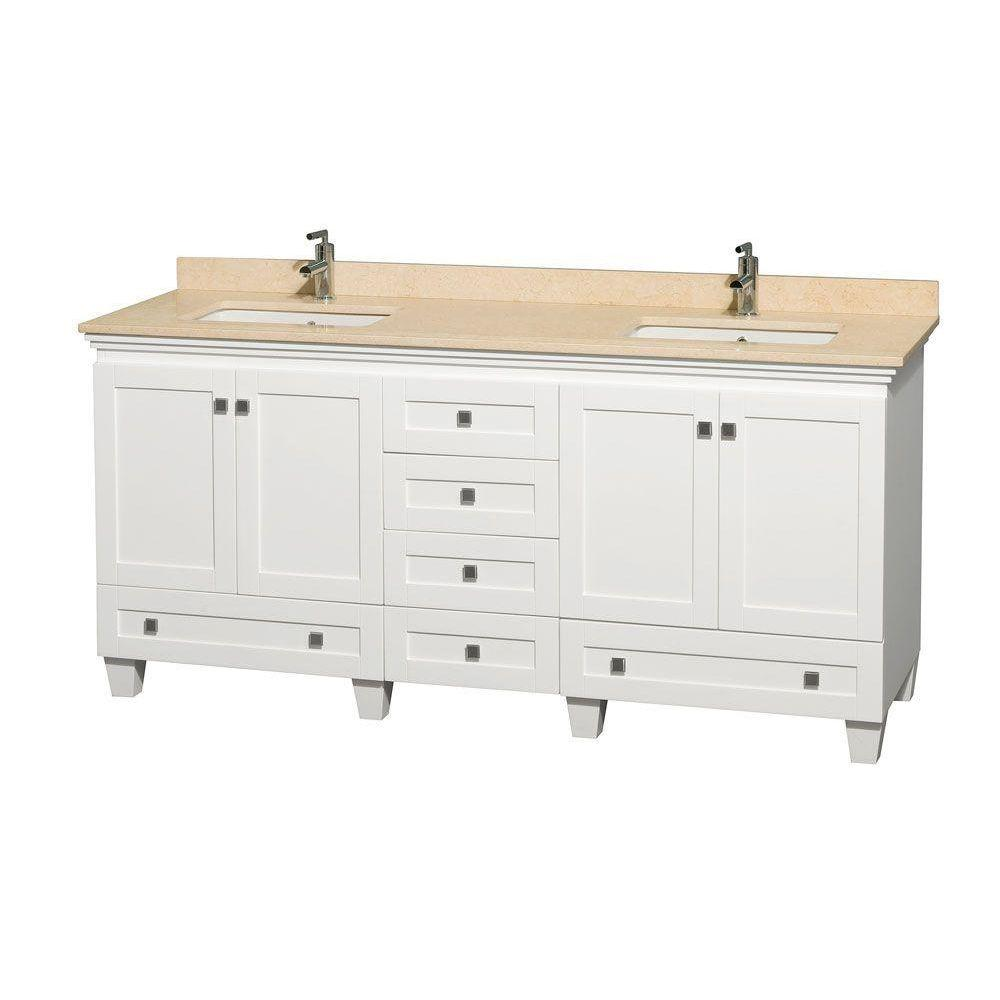 Wyndham Collection Acclaim 72 in. Double Vanity in White with Marble