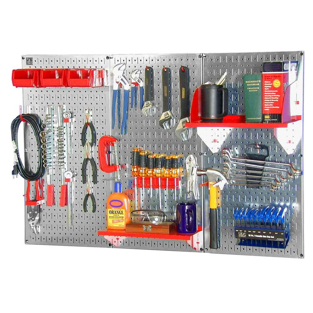 Wall Control 32 in. x 48 in. Metal Pegboard Standard Tool Storage Kit with Galvanized Pegboard and Red Peg Accessories