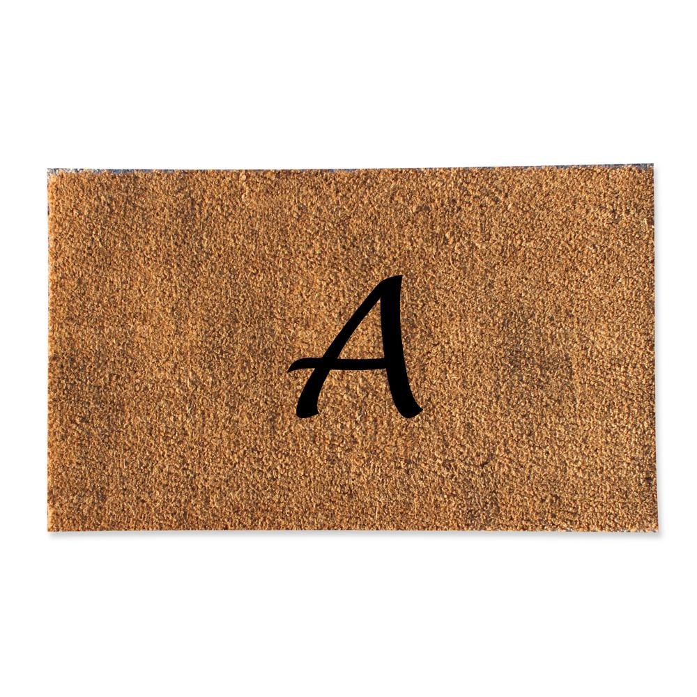 A1HC First Impression Plain 18 in. x 30 in. Coir Monogrammed