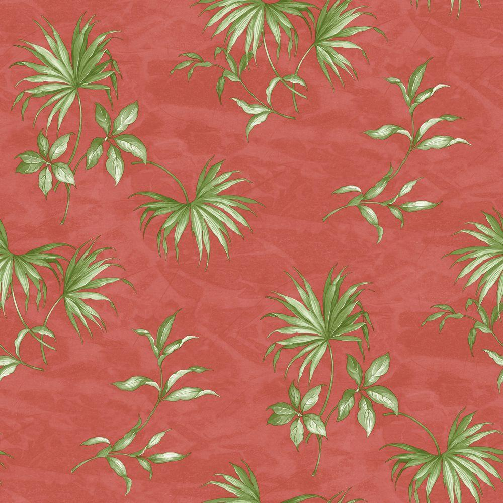 The Wallpaper Company 56 sq. ft. Orange And Green Tropical Watercolor Wallpaper