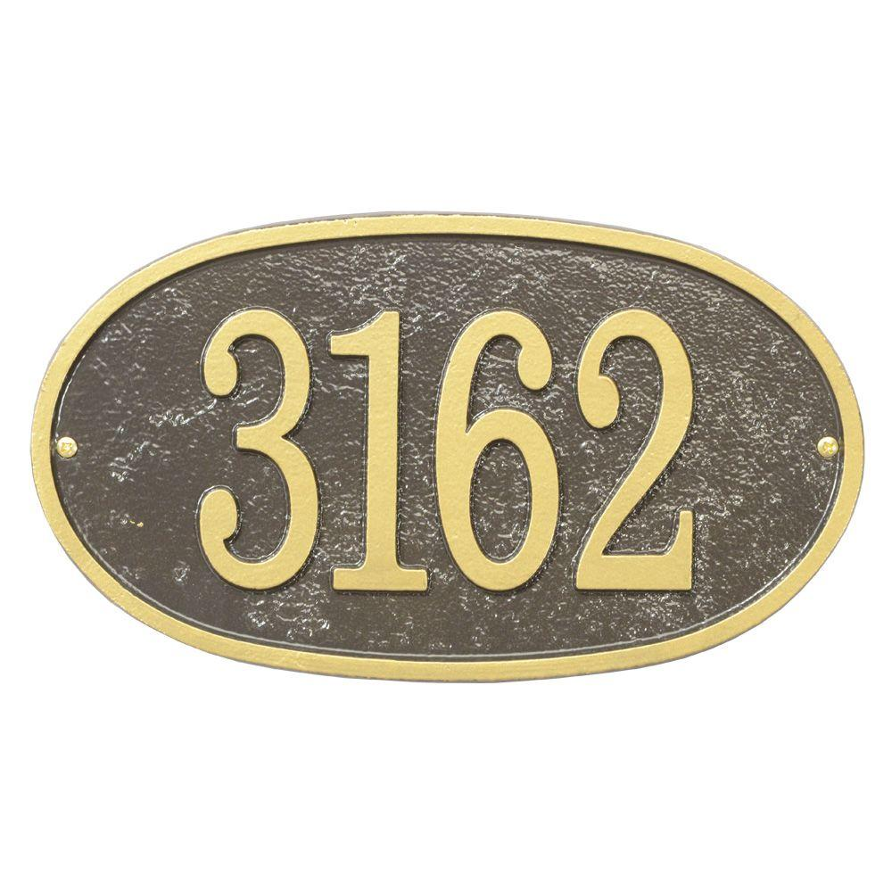 Whitehall Products Fast and Easy Oval House Number Plaque, Bronze/Gold