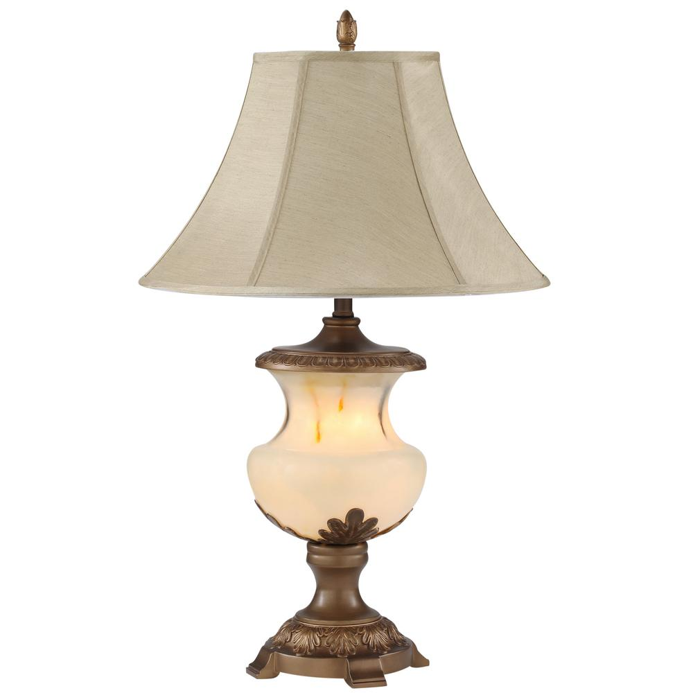 Ore International 32 In Alabaster Black Table Lamp With Night Light 8193 The Home Depot