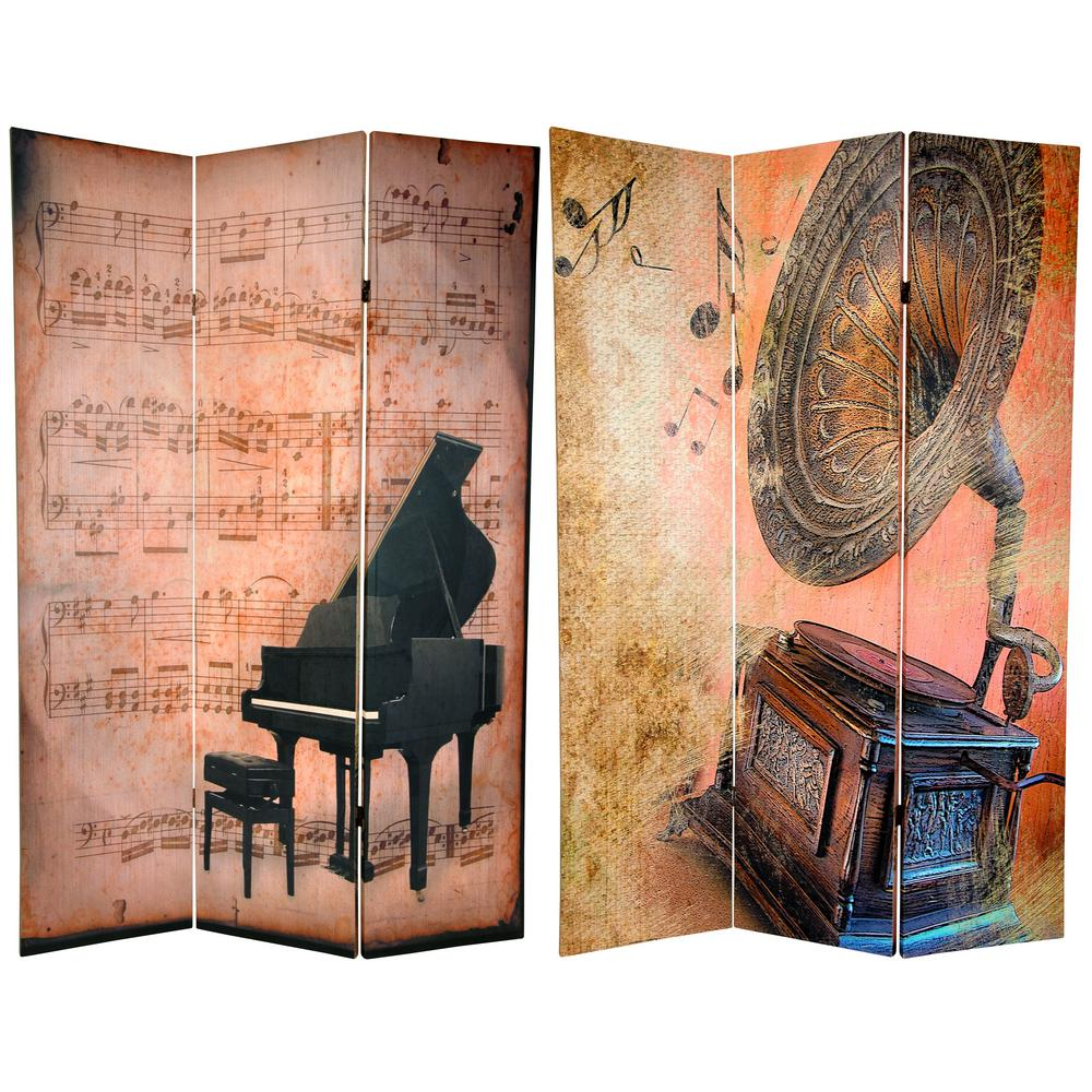 Oriental Furniture 6 ft. x 4 ft. 3-Panel Double Sided Piano/Phonograph