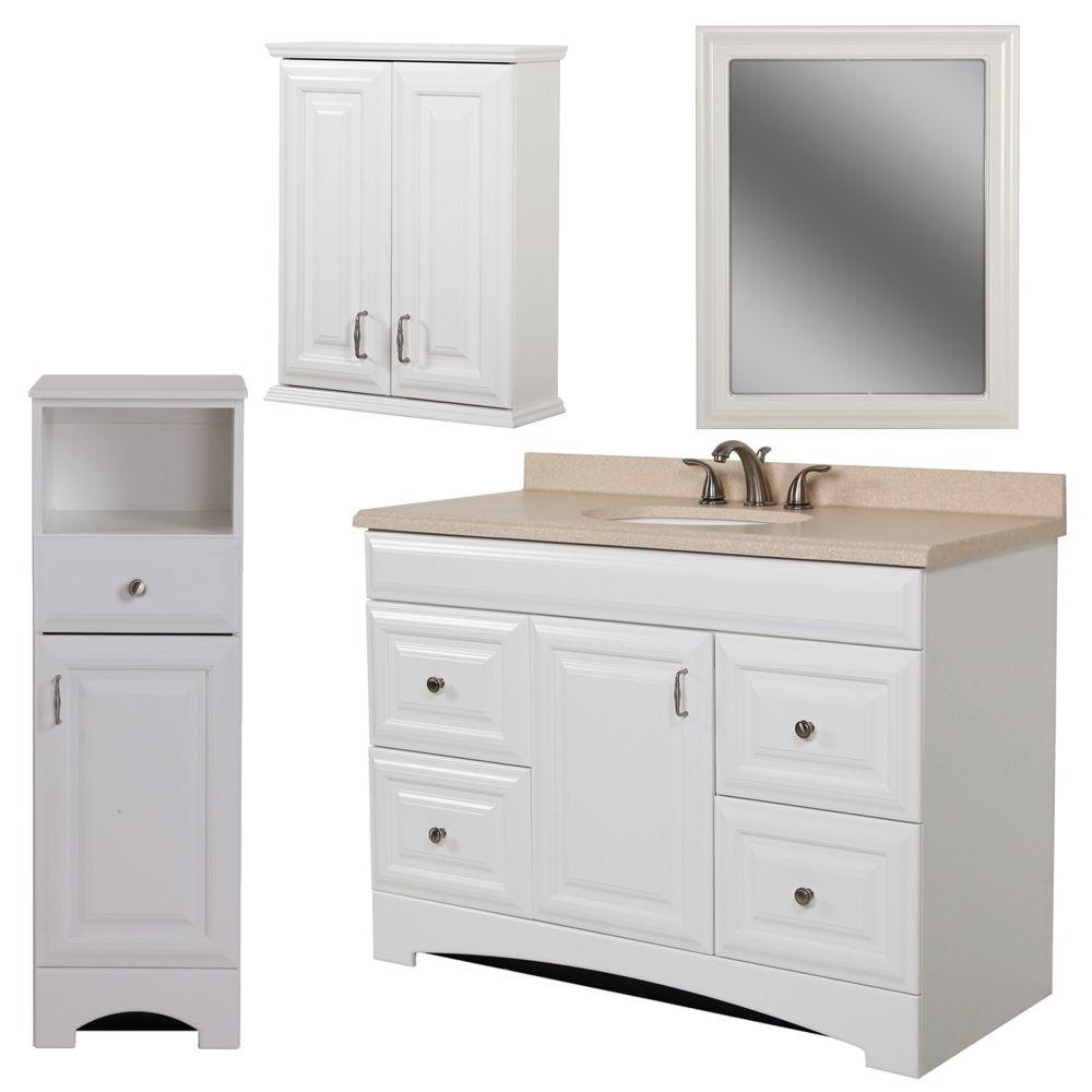 St. Paul Providence Bath Suite with 48 in. Vanity, Vanity Top, Over the John, Wall Mirror and Linen Tower in White-DISCONTINUED