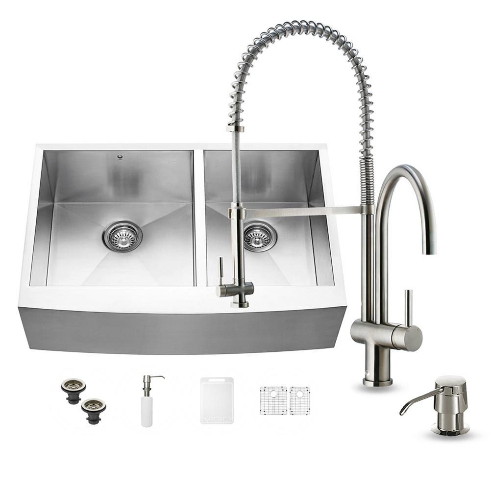All-in-One Farmhouse Apron Front 33 in. Double Basin Kitchen Sink in