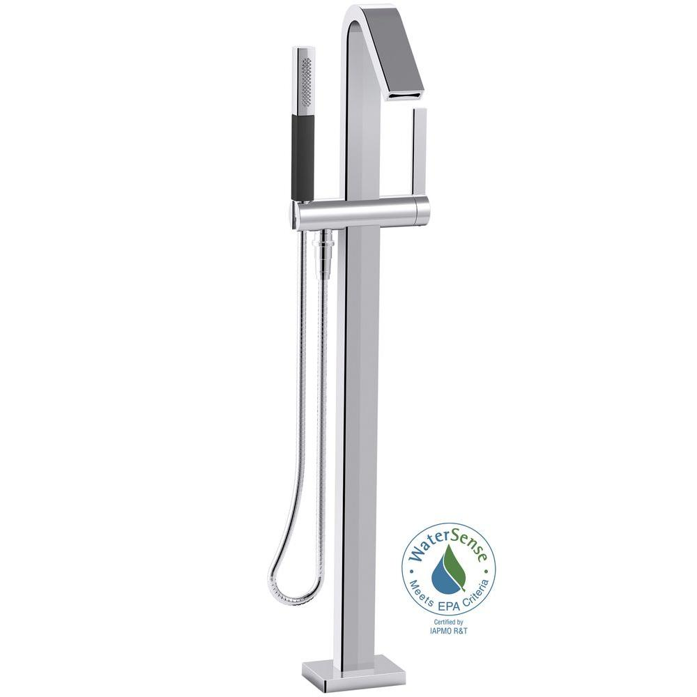Loure 1-Handle Floor Mount Bath Filler with Hand Shower in Polished