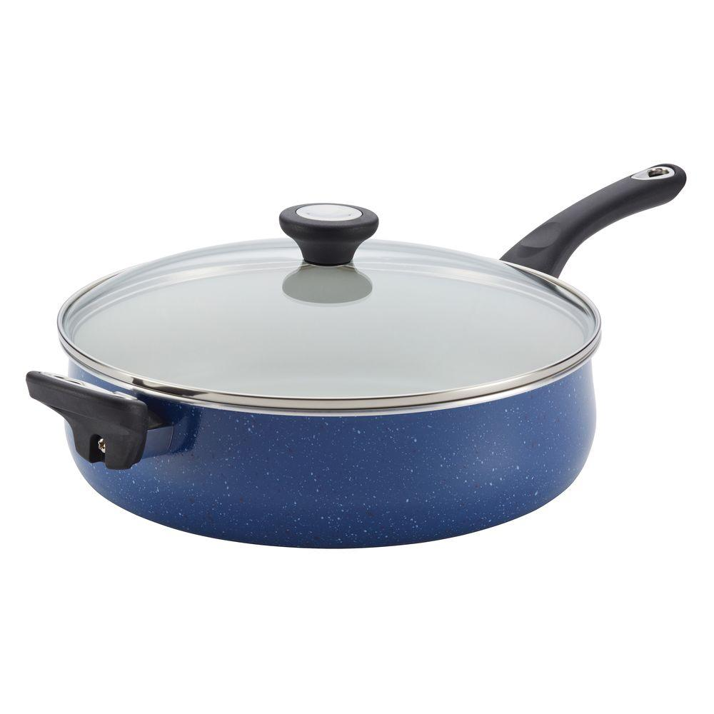New Traditions Speckled Aluminum Nonstick 5 qt. Jumbo Cooker with Helper Handle in Blue