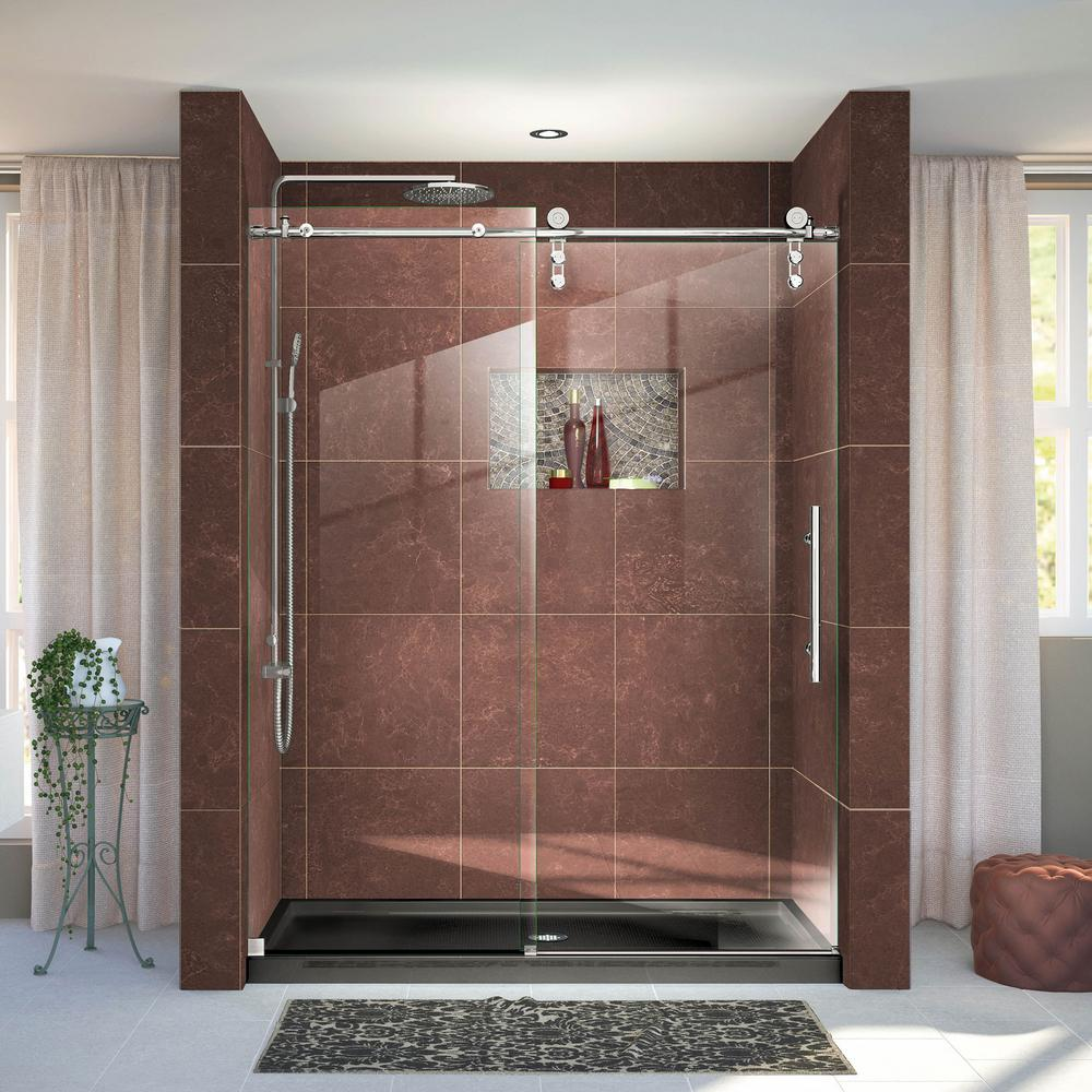 DreamLine Enigma-Z 44 in. to 48 in. x 76 in. Frameless Sliding Shower Door in Polished Stainless Steel