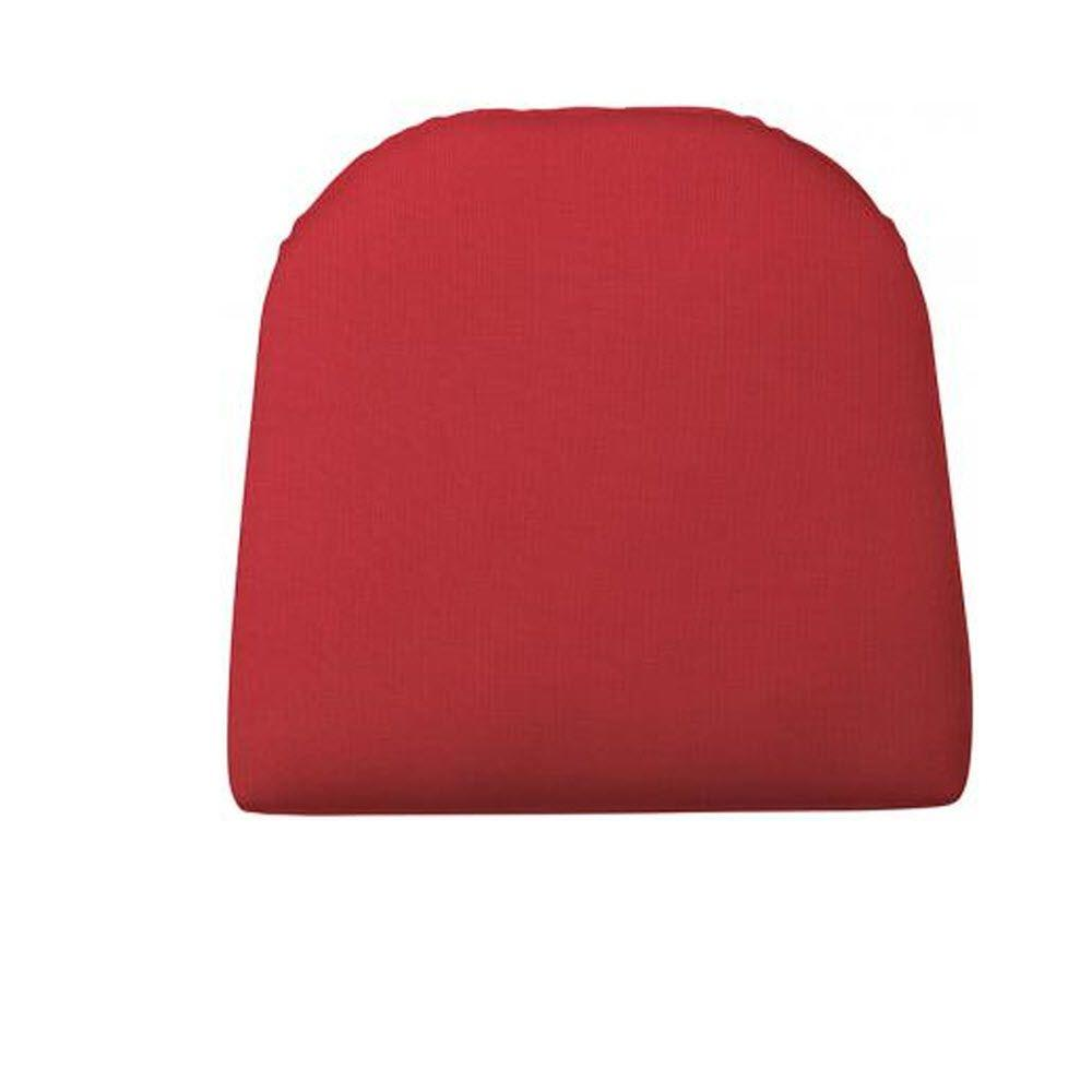 Home Decorators Collection Sunbrella Jockey Red Contoured Outdoor Seat Cushion