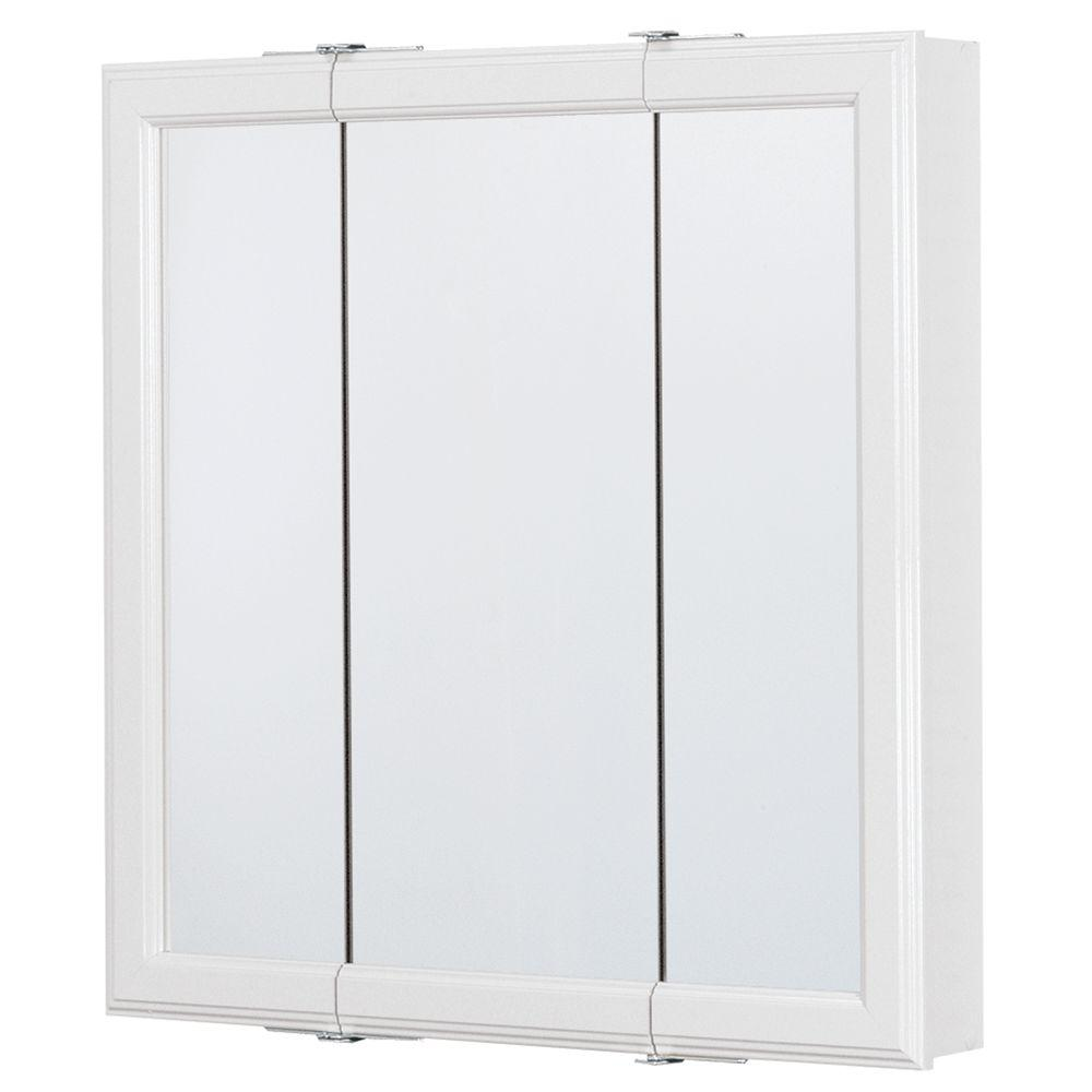 24 in. W x 25 in. H Framed Surface-Mount Tri-View Bathroom